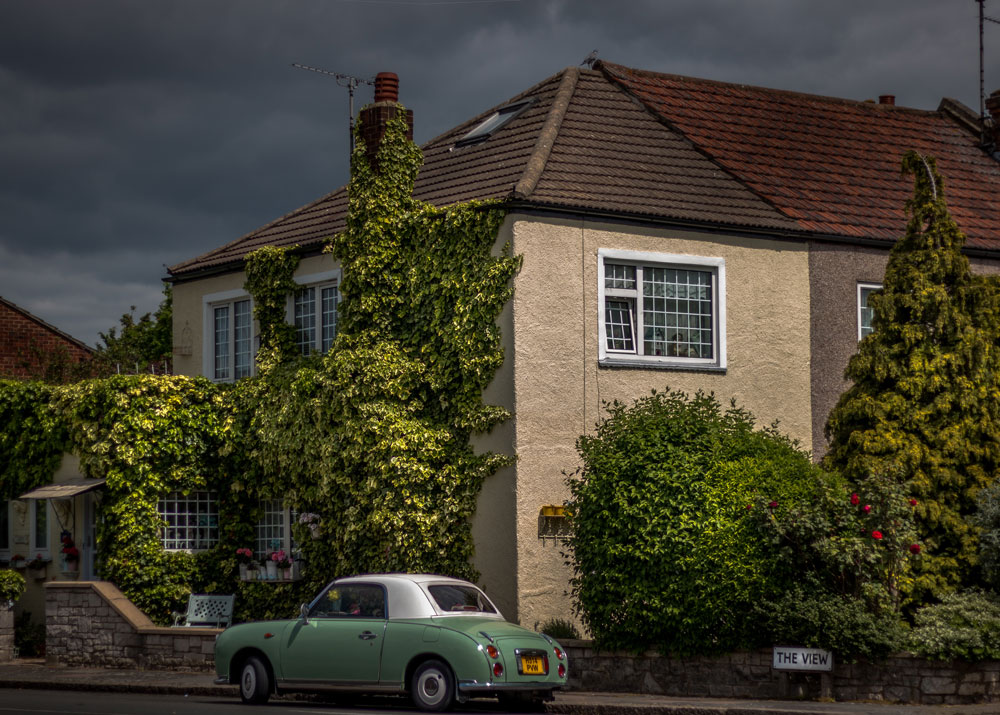 Small green car parked on road beside a house covered in plants